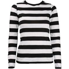 Women's Long Sleeve Black White Striped Shirt ($29) ❤ liked on Polyvore featuring tops, long sleeve shirts, stripe shirt, striped long sleeve shirt, slim fit shirts and black white stripe shirt
