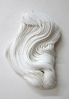 Fabric Manipulation - 3D textiles design with sculptural white textures; fabric art // Emanuela Fiorelli