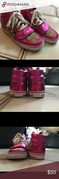 "Coach high top sequin sneakers. Size 6 Coach ""mistie"" pink sequin high top sneakers. Size 6. 100% authentic Coach Shoes Sneakers"