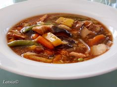 LATSIAKONYHÁJA: KÍNAI ÉDES-SAVANYÚ LEVES Hungarian Recipes, Hungarian Food, Ratatouille, Wok, Pot Roast, Thai Red Curry, Cooking Recipes, Beef, Ethnic Recipes