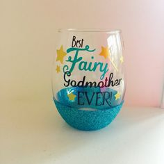 Best Fairy Godmother Ever Stemless Glitter Wine Glass by PourSomeGlitterOnMe on Etsy