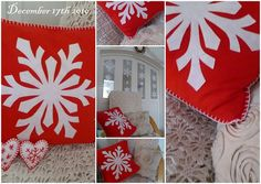 Red and white snowflake pillow