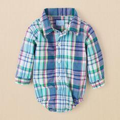 newborn - boys - plaid button-down bodysuit | Children's Clothing | Kids Clothes | The Children's Place