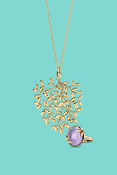 Paloma Picasso® Olive Leaf pendant in 18k gold and ring in 18k gold with an amethyst. #TiffanyPinterest