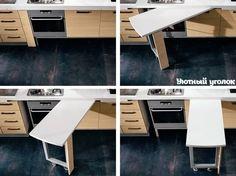 hidden kitchen work table