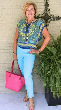 Love this outfit.  Love the colors and the blouse although this blouse looks like it might be a bit short for me.