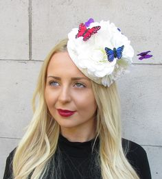 5abbc999 Ivory Cream Large Flower Butterfly Fascinator Pillbox Races Hat Ascot Rose  2295 for sale online | eBay
