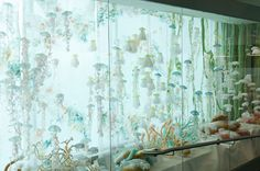 The real-life jellyfish walls are pretty mesmerizing.  This would require much less maintenance, as it's made from fabric.