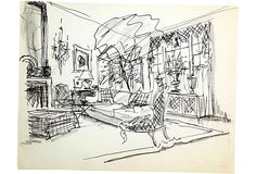 """Sketch of drawing room with Victorian slipper chair. Signed """"AH"""" and dated '94. Marker and pencil on tracing paper."""