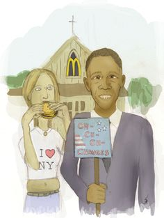 """Parody illustration of the famous painting """"American Gothic"""" Featuring Barack Obama aaand some white trash. This was made in about 2 hours, using pencil and digital coloring."""
