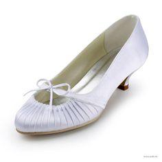 "wedding shower Fabulous 1.5"" Ruffle Bowknot Almond Toe Pumps - White Satin Wedding Shoes (11 colors) $67.98"