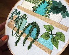 Succulents on wire table embroidery cactus art nature art