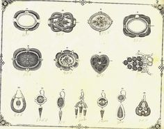 Mourning jewellery drawing of Victorian hair plaited and gold items by Talking Jewellery, via Flickr