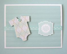 Sweet card for baby with a green and blue argyle onesie; perfect to send heartfelt congratulations and best wishes! Greeting says. cutest BABY ever.