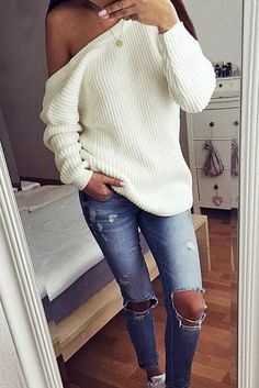 White Plain Off-shoulder Boat Neck Casual Oversize Pullover Sweater - Pullovers - Sweaters - Tops Winter Outfits For Work, Fall Outfits, Casual Outfits, Looks Style, Looks Cool, My Style, Fashion Mode, Look Fashion, Womens Fashion