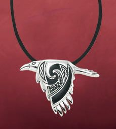 """Flying Raven Pendant The raven is known in many cultures as a messenger between the spirit and earthly worlds. This raven flies with purpose, bringing a message known only to her. Highly detailed sterling silver pendant, adorned in black enamel and tiny black crystals, on an 18"""" satin cord."""
