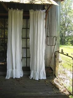 Pair Of Ruffled Vintage White Washed Linen Curtains Rod Pocket Ruffled  Curtains Unlined Curtains Romantic Ruffled Curtains Ruffled Panels