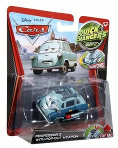 Disney / Pixar CARS Movie 1:55 Quick Changers Spy Professor Z with Pop-Out Weapon by Mattel. $14.46. These innovative 1:55 scale vehicles representing characters from the Disney Pixar Cars film take scene recreation to the next level! Each of the characters features dynamic, story-driven transformations. Watch expressions change, race damage appear or weapons arm with the push of a button or a crashing motion.
