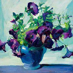 """Jane Peterson: """"Purple Petunias"""", 20th century -"""