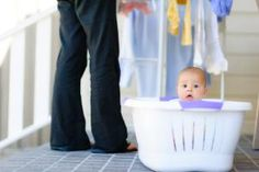 10 Creative Ways to Break Laundry Baskets Out of the Laundry Room: Baby Bathtub