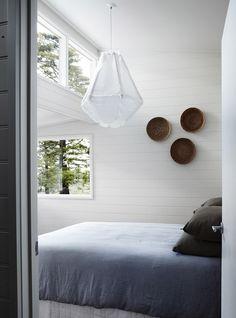 Orchard Keepers 13 | © Sharon Cairns | Est Magazine #enoki pendant light #baskets #bedroom