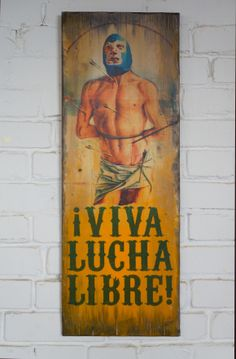 """Luchador"" 90x30 cm, acrylic and hand made transfer on aged wooden panel"