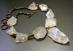 citrine crystal and raw pyrite necklace |Pinned from PinTo for iPad|