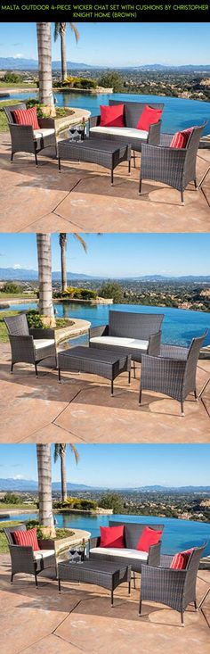 Malta Outdoor 4-piece Wicker Chat Set with Cushions by Christopher Knight Home (Brown) #camera #top #furniture #shopping #drone #kit #parts #gadgets #patio #high #tech #fpv #racing #technology #table #products #plans #set