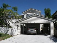 Outside Concepts Brisbane Galleries. Browse photos from Outside Concepts Brisbane Detached Garage Designs, Carport Designs, Carport Sheds, Carport Garage, Weatherboard House, Queenslander, Enclosed Carport, Garage Exterior, Houses