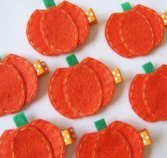 Orange Pumpkin Felt Hair Clip - Cute Fall and Halloween Clippies. $3.25, via Etsy.