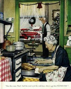 Norman Rockwell || vintage Plymouth ad | Christmas | kitchen