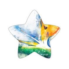Bird Of Paradise Watercolor Art Star Sticker - watercolor gifts style unique ideas diy