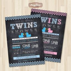 Twins Baby Shower Invitation Chalkboard. Rubber by AngelinaWorks, $12.90