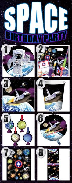 Eight Space Birthday Party Supplies Your Space Party Should Have!  More great space party supplies: http://www.discountpartysupplies.com/boy-party-supplies/space-party-supplies
