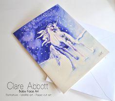 11. Unicorn Card, large 8x6, Unicorn painting, large fine art card, Unicorns, Horse, giclee printed,