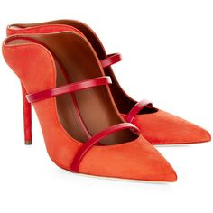 607b07abdb8 Malone Souliers Orange Suede Maureen Pointed Mules ( 600) ❤ liked on  Polyvore featuring shoes