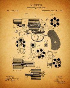 Patent 1881 Revolver Designed by William Mason for Colt Fire Arms Wall Art… Gun Decor, Sapo Meme, Gun Art, Patent Drawing, Poster Prints, Art Prints, 3d Models, Le Far West, Patent Prints