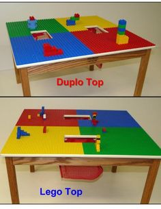 LEGO COMPATIBLE PLAY TABLE OR DUPLO COMPATIBLE WITH 2 STORAGE POCKETS SOLID  OAK WOOD 31.5 W X