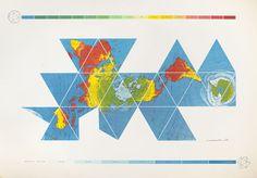 "Buckminster Fuller, Dymaxion Air-Ocean World Map, 1981; screen print; 50 in. x 72"""