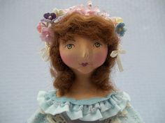 """Paper Clay and Cloth Folk Art Doll, Vintage Inspired """"Olivia"""" by GentleTimeDolls on Etsy"""