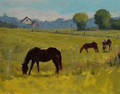 """""""Spring Green"""" South Dakota horse and farm oil painting - Jessie Rasche Horse Oil Painting, Oil Painting Abstract, Watercolor Artists, Painting Art, Watercolor Painting, Farm Paintings, Landscape Paintings, Landscapes, Indian Paintings"""