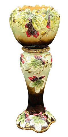 French Majolica Jardiniere on Stand (Chestnut Pattern).