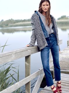"madewell fringe-loop cardigan sweater worn with the jean jacket in ellery wash, striped chart tee, 11"" high riser crop flares + the octavia sandal. #denimmadewell"