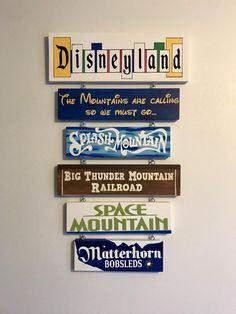 Hand painted vintage Disneyland Sign, customize with your favorite rides and attractions. Blue Bayou Disneyland, Disneyland Sign, Disney Sign, Vintage Disneyland, Disney Themed Nursery, Nursery Themes, Nursery Bookshelf, Disney Paintings, Disney Rides