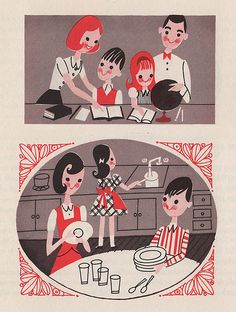 Mothers At Work: part of the Metropolitan Life pamphlet series. From 1963. No mention of illustrator.