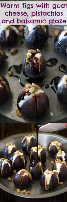 Warm figs with goat cheese, pistachios & balsamic glaze. An easy appetizer that looks impressive enough to serve at a dinner party. Salty, sweet, tangy, this dish hits all the flavor notes. #figs #appetizer #goatcheese