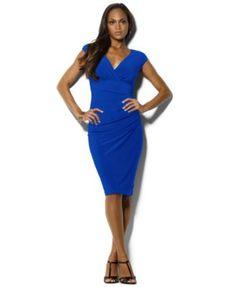 Lauren Ralph Lauren Cap-Sleeve Jersey Dress | macys.com