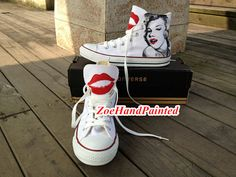 Marilyn Monroe Shoes Marilyn Monroe Converse Red Lips shoes Red Lips Converse High Top Hand Painted Shoes Custom Converse Shoes Canvas Shoes on Etsy, $89.00