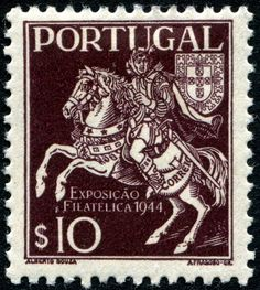 Mailman, Post rider and Portugal's coat of arms.   Stamp issued by Portugal, circa 1944