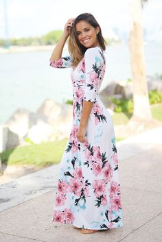 Ivory Floral Wrap Maxi Dress